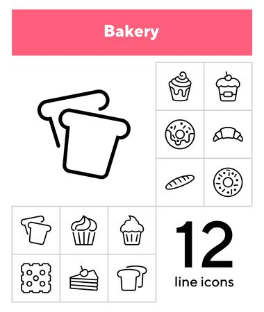 Bakery line icon set.Set of line icons on white background. Cupcake, bread, biscuit, pie. onfectionery concept. Vector illustration can be used for topics like sweets, confectionery, bakery, cafe