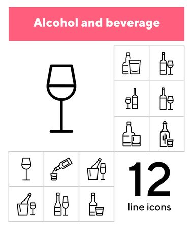 Alcohol and beverage icons. Set of line icons on white background. Glass, bottle, wine. Bar concept. Vector illustration can be used for topics like restaurant, alcohol, party