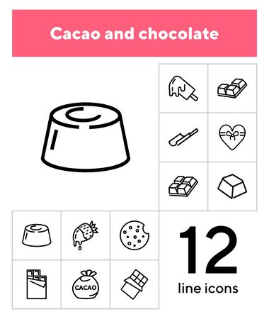 Cacao and chocolate line icon set. Candy, food, yummy. Confectionery concept. Can be used for topics like sweets, dessert, romantic gift