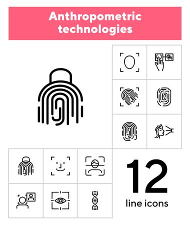 Anthropometric technologies line icon set. Scanning, identification, genes. Authentication concept. Can be used for topics like comparative analysis, criminology, forensics