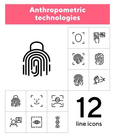 Zestaw ikon linii technologii antropometrycznych. Skanowanie, identyfikacja, geny. Koncepcja uwierzytelniania. Może być używany do takich tematów jak analiza porównawcza, kryminologia, kryminalistyka Ilustracje wektorowe