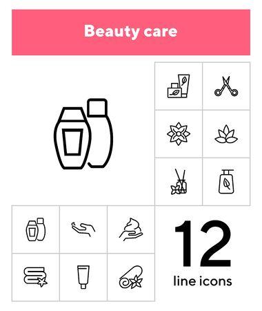 Beauty care line icon set. Shampoo, scissors, towel, flower. Beauty concept. Can be used for topics like cosmetics, spa salon, skin care 스톡 콘텐츠 - 133220008