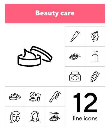 Beauty care line icon set. Cream, eyelashes, mascara, botox. Beautician concept. Can be used for topics like beauty salon, cosmetic products, face lifting Illusztráció