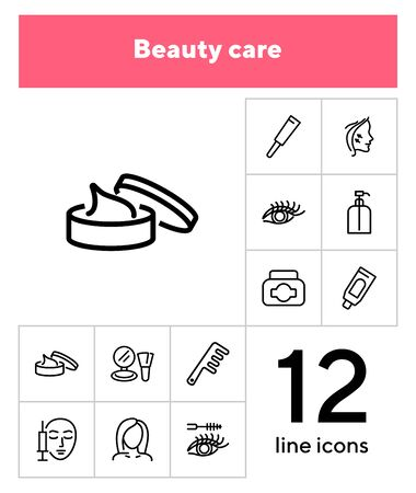 Beauty care line icon set. Cream, eyelashes, mascara, botox. Beautician concept. Can be used for topics like beauty salon, cosmetic products, face lifting Illustration