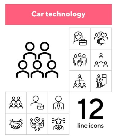 Career promotion line icon set. Candidate, selection, interview. Human resource concept. Can be used for topics like employment, corporate hierarchy, recruitment Иллюстрация