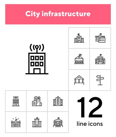 City infrastructure line icon set. School, government, courthouse, hospital, road sign. Urban life concept. Can be used for topics like town, big city, architecture Banque d'images - 133220351