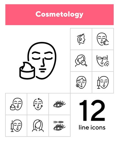 Cosmetology line icon set. Botox injection, solarium, mascara. Beauty concept. Can be used for topics like dermatology, skin care, aesthetics Archivio Fotografico - 133221068