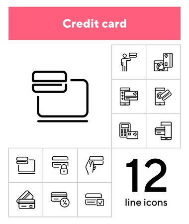 Credit card line icon set. Payment, gadget, mobile phone. Finance concept. Can be used for topics like money, banking, transaction