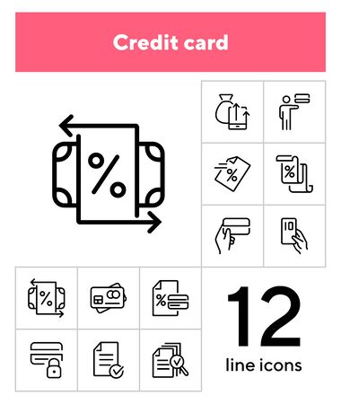 Credit card line icon set. Card holder, bank interest, agreement. Finance concept. Can be used for topics like banking, loan service, payment