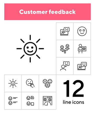 Customer feedback line icon set. Smiley, like, dislike. Ecommerce concept. Can be used for topics like retail, store, approval 일러스트