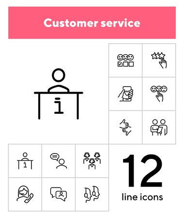 Customer service line icon set. Review, evaluation form, feedback. Client support concept. Can be used for topics like call center, contact center, consulting, hotline
