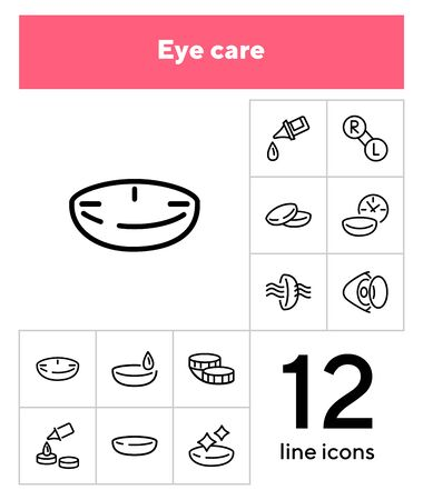 Eye care line icon set. Lens, container, solution. Vision concept. Can be used for topics like sight, ophthalmology, medicine 向量圖像