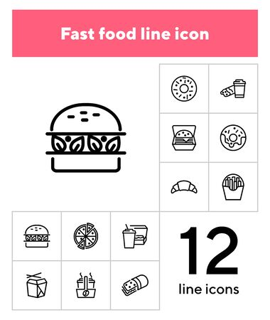 Fast food line icon set. Set of line icons on white background. Pizza, coffee, sandwich, burger. Food concept. Vector illustration can be used for topics like food, street cafe, snack 向量圖像