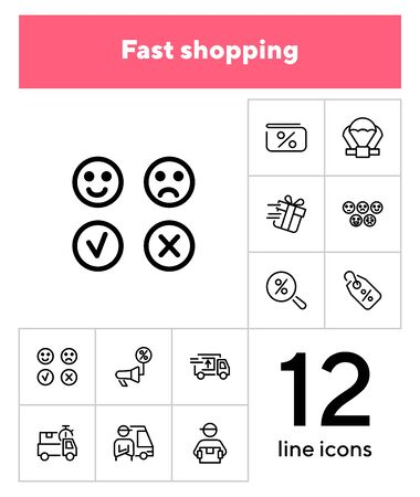Fast shopping icon set. Product delivery concept. Vector illustration can be used for topics like shopping, buying, online store 일러스트