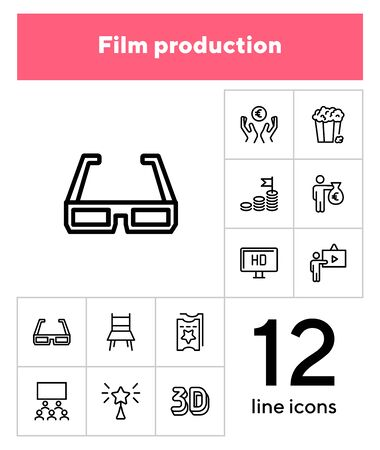 Film production line icon set. 3d glasses, presentation, hall, ticket. Movie industry concept. Can be used for topics like cinema, first night, premier, award 일러스트