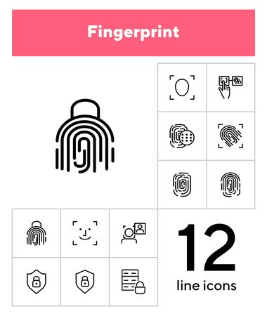 Fingerprint line icon set. Set of line icons on white background. Identification, personality, access. Safety concept. Vector illustration can be used for topics like data safety, program, security Archivio Fotografico - 133221638