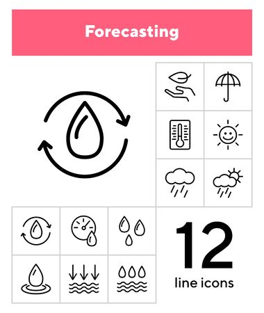 Forecasting line icon set. Set of line icons on white background. Environment concept. Rain, cloud, sunshine. Vector illustration can be used for topics like nature, environment, season