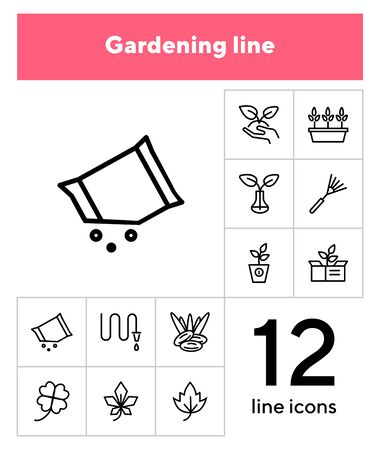 Gardening line icon set. Plants, leaf, hose, rake. Nature concept. Can be used for topics like orchard, farming, agriculture Imagens - 133221651