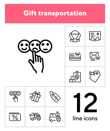 Gift transportation line icon set. Set of line icons on white background. Shopping concept. Shop, box, payment. Vector illustration can be used for topics like modern life, urban, comfort 版權商用圖片 - 132969130
