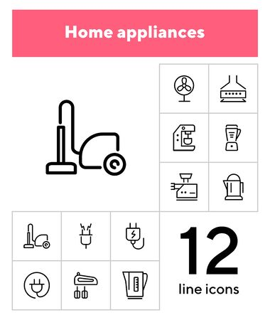 Home appliances line icon set. Vacuum cleaner, stove hood, kettle. Housekeeping concept. Can be used for topics like kitchen, cooking, cleaning