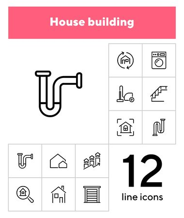 House building line icon set. Set of line icon on white background. Home concept. Washing machine, door, stair. Vector illustration can be used for topics like engineering, power Vector Illustration