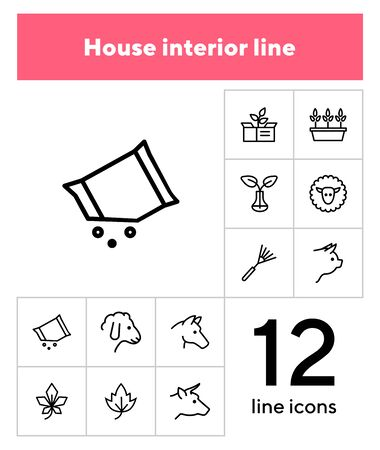 Household and nature icons. Set of line icons on white background. Animal, grocery, equipment. Housekeeping concept. Vector illustration can be used for topics like nature, homegrown Illustration