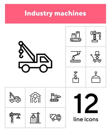Industry machines line icon set. Concrete mixer, crane, site. Machinery concept. Can be used for topics like construction, robotic science, technology Illusztráció