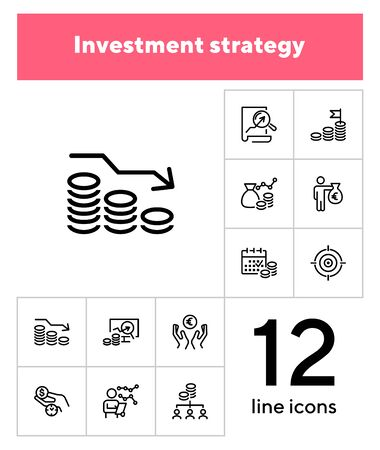 Investment strategy line icon set. Analysis, graph, cash. Finance management concept. Can be used for topics like income, trade, business Illustration