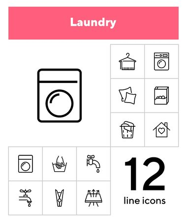 Laundry line icon set. Washing machine, washer, fabric, faucet. Laundry concept. Can be used for topics like household, housekeeping, hygiene