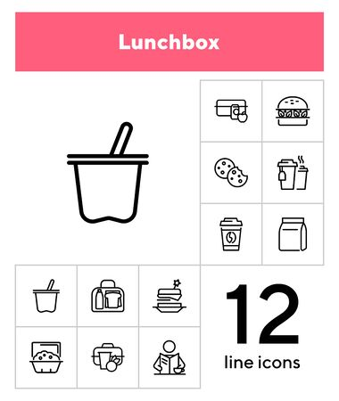 Lunch line icon set. Morning coffee, snack, picnic box. Eating concept. Can be used for topics like food, breakfast, lunch break