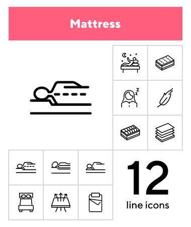 Mattress icon set. Line icons collection on white background. Customer, bed, comfort. Orthopedic furniture concept. Can be used for topics like bedroom, sleep, guarantee Иллюстрация