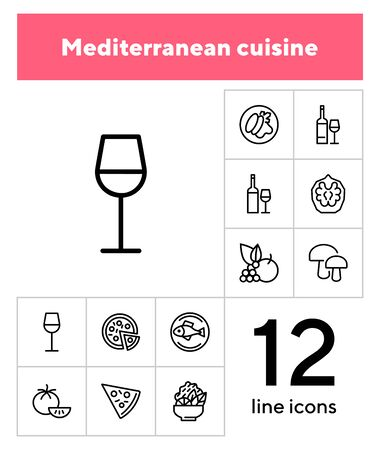 Mediterranean cuisine line icon set. Salad, pizza, tomato. Food concept. Can be used for topics like restaurant, cooking, menu Stock Illustratie