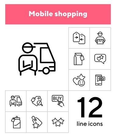 Mobile shopping line icon set. Set of line icons on white background. Paper packet, mark, star. Online shopping concept. Vector illustration can be used for topics like technology, apps Illustration