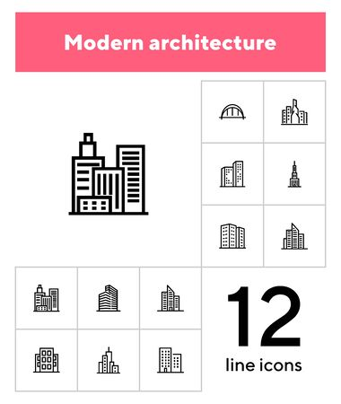 Modern architecture line icon set. Apartment house, skyscraper, office, arc bridge. Urban life concept. Can be used for topics like big city, downtown, business center Stock Illustratie
