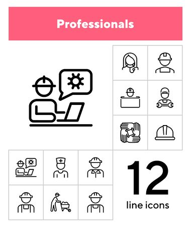 Professionals line icon set. Set off line icons on white background. Doctor, engineer, builder. Job concept. Vector illustration can be used for topics like career, sociality, business 向量圖像
