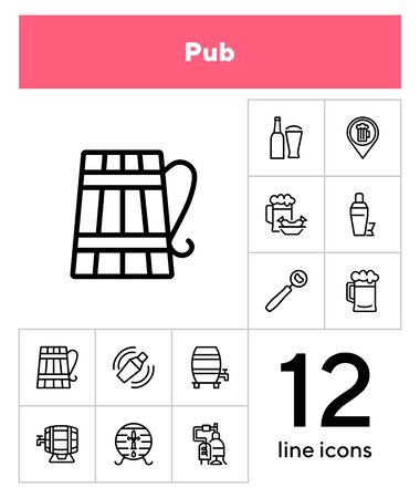 Pub line icon set. Beer, opener, barrel. Alcoholic drinks concept. Can be used for topics like restaurant, bar, brewery, celebration