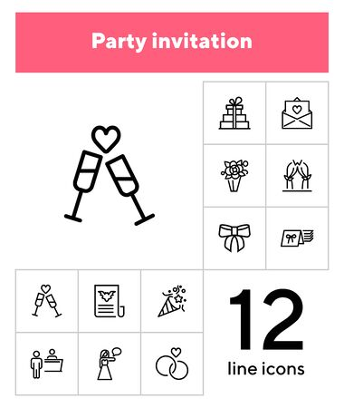 Party invitation line icon set. Hostess, card in envelope, clinking flutes. Holiday concept. Can be used for topics like festive event, wedding, celebration