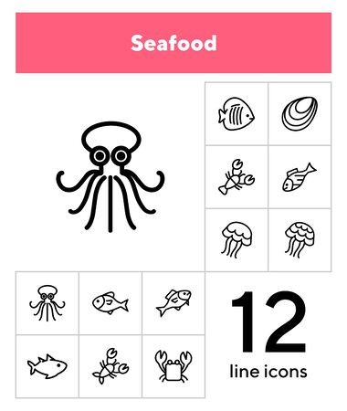 Sea life line icon set. Seashell, jelly, crab. Nature concept. Can be used for topics like diving, ocean, seafood market 写真素材 - 133222780