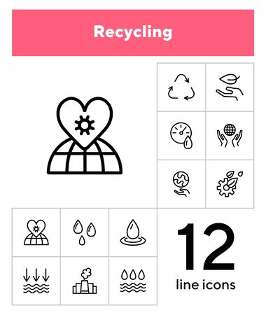 Recycling line icon set. Leaf, globe, hand, manufacture. Ecology concept. Can be used for topics like environment pollution, fresh water, nature