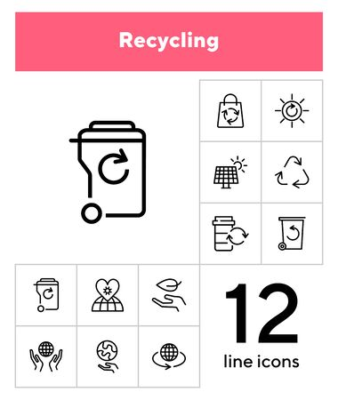 Recycling line icon set. Beer, opener, barrel. Ecology concept. Can be used for topics like environment protection, sustainable policy, zero waste Illusztráció