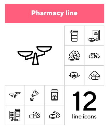 Pharmacy line icons. Set of line icons on white background. Medicine concept. Aid, pills, tablets. Can be used for topics like pharmacy, medicine, hospital, treatment