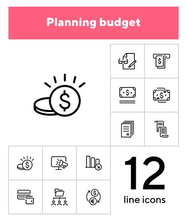 Planning budget line icon set. Money, cash, document. Finance concept. Can be used for topics like saving, cashback, currency exchange