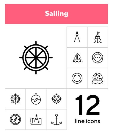 Sailing line icon set. Ship, anchor, compass. Travel concept. Can be used for topics like cruise, marine navigation, nautical Ilustracja