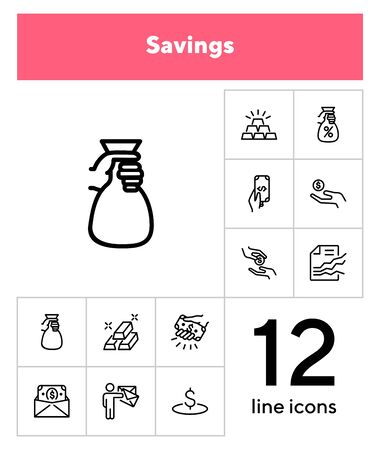 Savings line icon set. Deposit, cash, gold bars. Finance concept. Can be used for topics like banking, investment, money Ilustrace