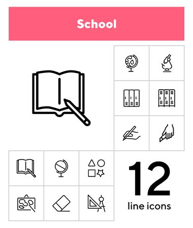 School line icon set. Microscope, globe, cabins. Education concept. Can be used for topics like biology, geometry, geography