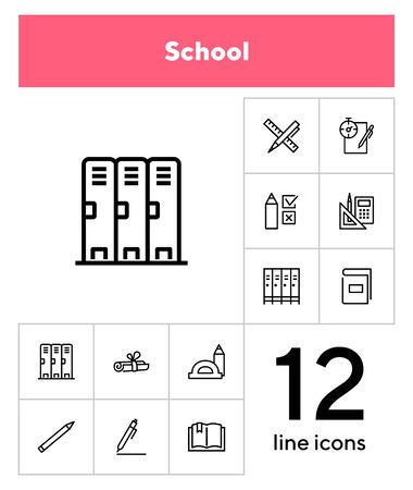 School line icon set. Test, exam, book, pen. Education concept. Can be used for topics like learning, training, college 向量圖像