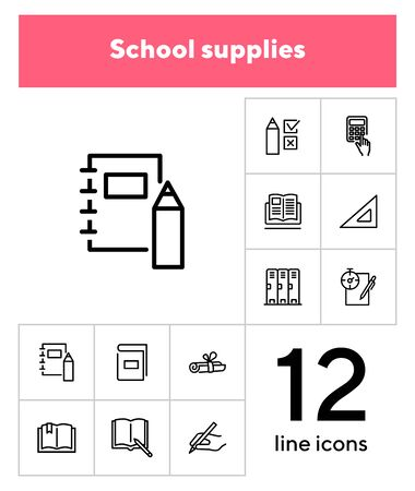 School supplies line icon set. Notebook, calculator, textbook. Education concept. Can be used for topics like college, university, training