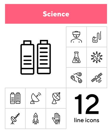 Science line icon set. Set of line icons on white background. Space concept. Antennae, satellite, rocket. Vector illustration can be used for topics like space ship, space travelling, science Иллюстрация