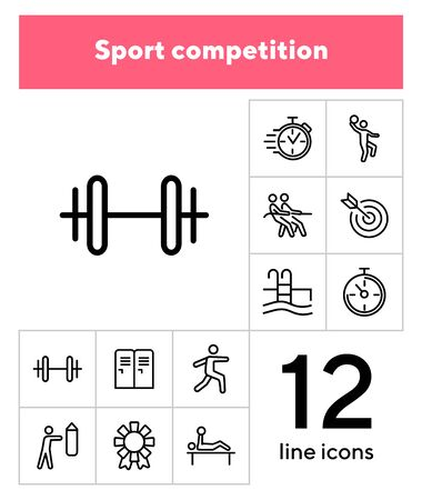 Sport competition icons. Set of line icons. Gym lockers, barbell, swimming pool. Sports activity concept. Vector illustration can be used for topic like professional sport, physical activity, training Ilustrace