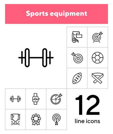 Sports equipment icon set. Line icons collection on white background. Dart, football, attribute. Training concept. Can be used for topics like activity, championship, game